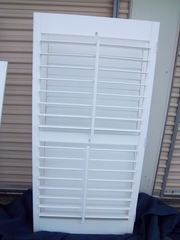Six white solid wood plantation shutters w/ frame &double panel fold